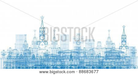 Outline Moscow City Skyscrapers and famous buildings in blue color Vector illustration