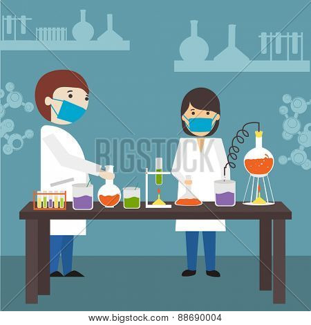 Cartoon of young scientists doing research in a laboratory on blue background.