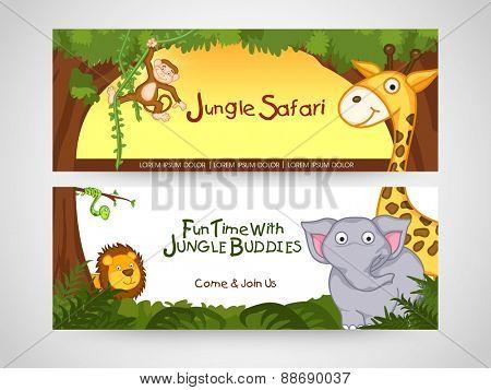 Jungle safari banner or website header with wild animal.