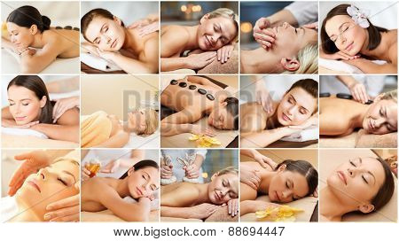 beauty, healthy lifestyle and relaxation concept - collage of many pictures with beautiful young women having facial or body massage in spa salon poster