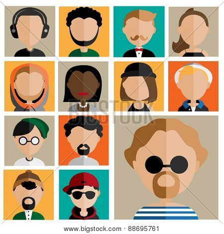Diversity Interracial Community People Flat Design Icons Concept