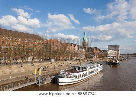 Waterfront Promenade In Bremen