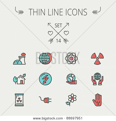 Ecology thin line icon set for web and mobile. Set includes-Palm, global, flower, propeller, atom, plug, arrow icons. Modern minimalistic flat design. Vector icon with dark grey outline and offset