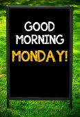 GOOD MORNING MONDAY! message on sidewalk blackboard sign against green grass background. poster