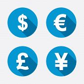 Dollar, Euro, Pound and Yen currency icons. USD, EUR, GBP and JPY money sign symbols. Circle concept web buttons. Vector poster