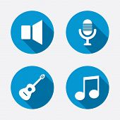 Musical elements icons. Microphone and Sound speaker symbols. Music note and acoustic guitar signs. Circle concept web buttons. Vector poster