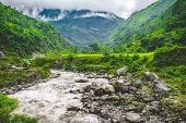 Beautiful landscape in Himalayas mountains, Annapurna area. Bright colors, pristine nature. Nepal poster