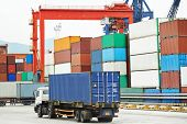 dock terminal of freight container boxes in open air cargo sea port warehouse  poster