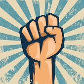 Protest logo. Fist raised up. In grunge style. poster