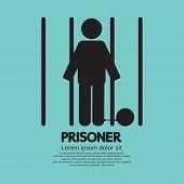 Prisoner In Jail Black Symbol Vector Illustration. EPS 10 poster