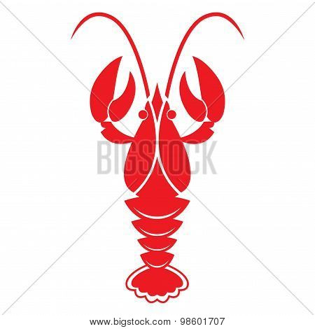 Red crawfish isolated on white background. Vector icon or sign. poster
