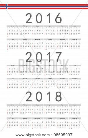 Set of rectangle Norwegian 2016 2017 2018 year vector calendars. Week starts from Sunday. poster