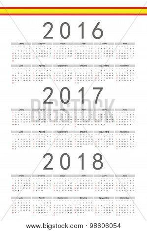 Set Of Rectangle Spanish 2016, 2017, 2018 Year Vector Calendars