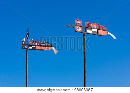 Wooden carved weather vanes in Nida, Lithuania