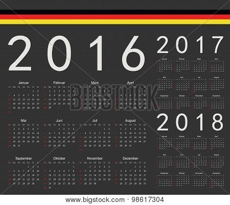 Set Of Black German 2016, 2017, 2018 Year Vector Calendars