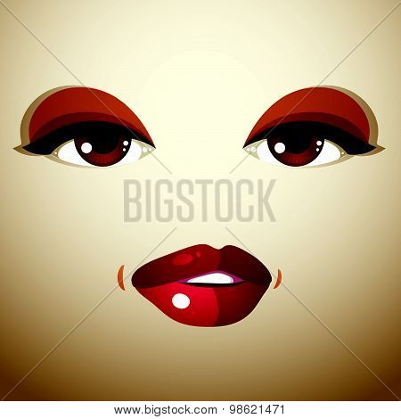 Facial expression of young pretty woman. Coquette lady visage, human eyes and lips.