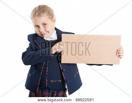 Smiling Schoolgirl Showing Empty Paperboard In Hands, Isolated On White Background