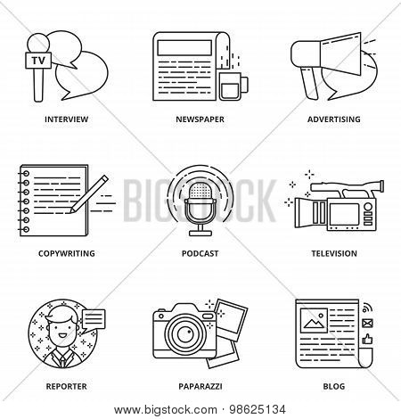 Journalism and mass media vector icons set modern line style poster