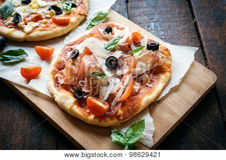 Served Prosciutto Mini Pizza