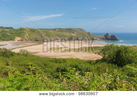 Three Cliffs Bay south coast the Gower Peninsula Swansea Wales uk beautiful view and popular tourist destination poster