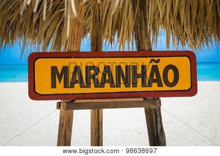 Maranhao sign with beach background