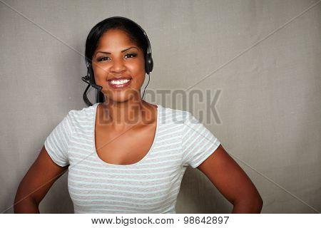 Happy Callcenter Operator Looking At The Camera