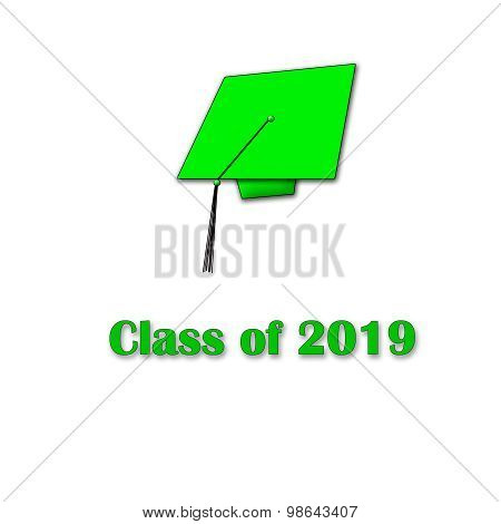 Class of 2019 Green on White Single Large