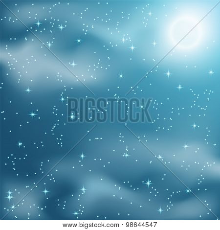 Stars And Clouds On The Night Sky.