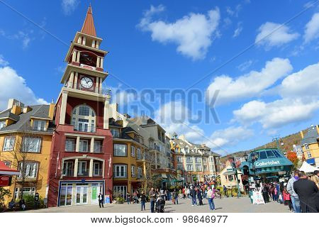MONT-TREMBLANT, QC, CANADA - OCT 5, 2014: Colorful Houses in villiage of Mont-Tremblant, Quebec, Canada.