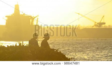 A Pair Fish At Sunset, Naval Base Coronado, San Diego