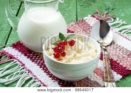 Sweet Rice Pudding With Red Currant And Mint