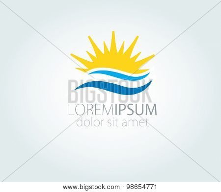 Vector Logo with yellow sun and blue sea waves. Vector logotype