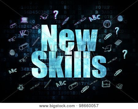 Education concept: New Skills on Digital background