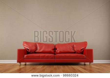 Red sofa in front of an empty wall in a living room (3D Rendering)