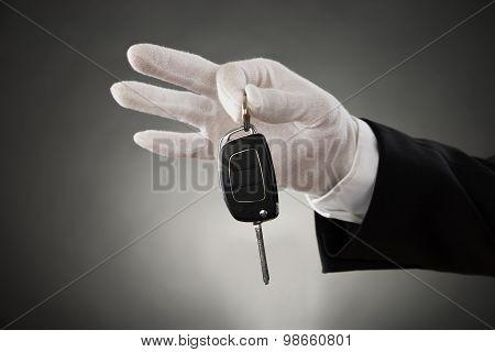 Waiter Hands Holding Car Key