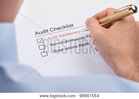 Businessperson Filling Audit Checklist Form