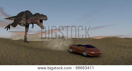 tarbosaurus chasing a sportcar