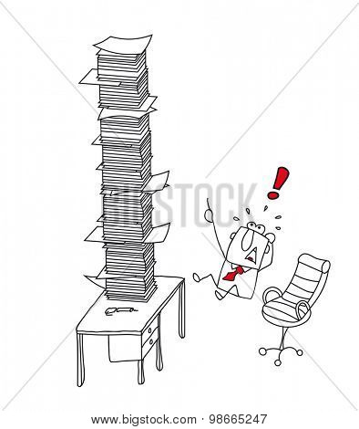 overworked Joe.. He is in front of a stack of paper on his desk. He's overworked