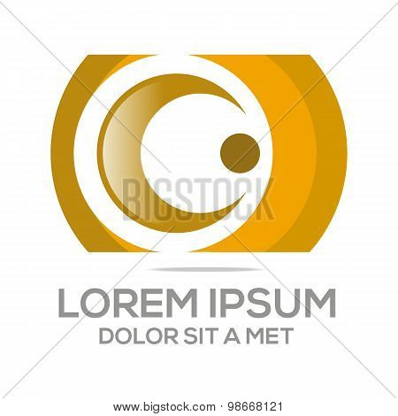 Abstract union circle c letter logo vector