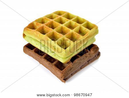 Chocolate And Pandan Leaves Flavor Waffle With Raisin On White Background