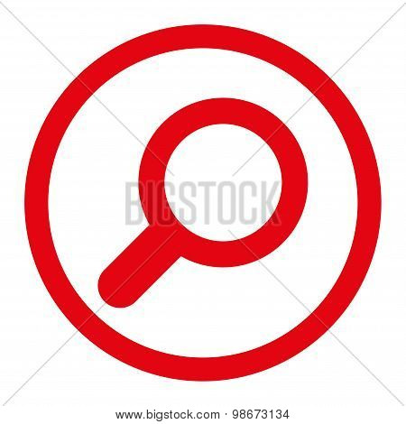 View flat red color rounded vector icon