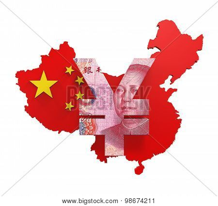 Chinese Yuan Symbol isolated on white background. 3D render poster