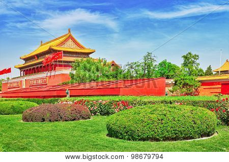 Tiananmen Square and Gate of Heavenly Peace- the entrance to the Palace Museum in Beijing (Gugun).Tiananmen Square is a third large city square in the centre of Beijing China. poster