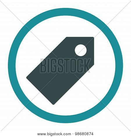 Tag flat soft blue colors rounded vector icon