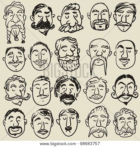 Collection of male faces with mustache