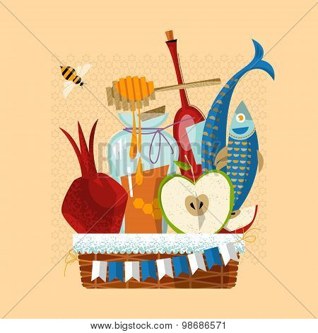 Happy Rosh Hashanah. Jewish New Year. Festive Basket: Pomegranate, Apple, Honey, Fish, Bottle Of Win