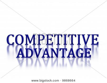 3D Letters Spelling Competitive Advantage In Dark Blue