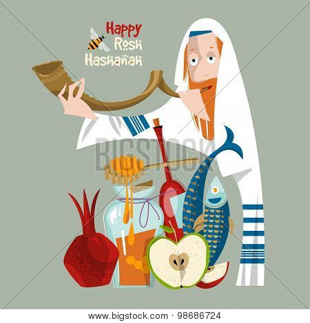 Happy Rosh Hashanah. Jewish New Year. Orthodox Jewish Man Holds Shofar. Pomegranate, Apple, Honey, F