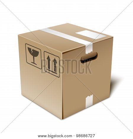 Cardboard Box Icon, Vector Illustration