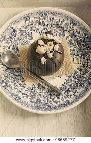 Round Chocolate Dessert With White Chocolate Chips And Wafer. Vintage Style
